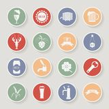 Round beer icons set. Vector illustration Stock Photo