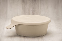 Round, Beige Flat Base Soup Bowl with Cover On Stock Images