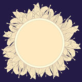 Round beige label with magnolia flowers Royalty Free Stock Image