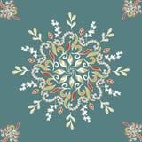 Round bezszwowy deseniowy ornament z przeplatanymi gałąź, kwitnie i fryzuje arabesk Wektorowy kółkowy abstrakcjonistyczny kwiecis Obrazy Stock