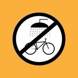 Round bicycle icon do not wash the bicycle ,black thin line on white background - vector illustration stock photo