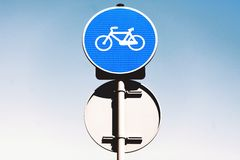 Round bicycle lane sign Stock Photography