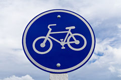 Round bicycle lane sign Stock Photo