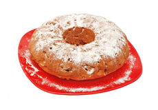 Round biscuit cake. On plate, isolated on a white background Stock Photos