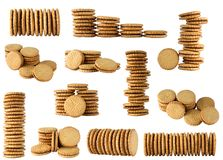 Round biscuits arranged in different shape Stock Images
