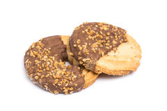 Round Biscuits With Chocolate And Peanuts Stock Photo