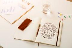 Round biznesowy pomysł w notatniku Obrazy Royalty Free