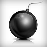 Bomb on white. Round black bomb with cord on white, vector illustration Stock Images