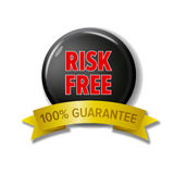 Round black button with words `Risk Free - 100% Guarantee`. Round black button and golden ribbon with words `Risk Free - 100% Guarantee`. Bright label for online Royalty Free Illustration