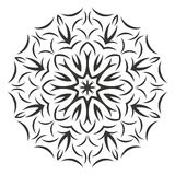 Round black flower pattern on white background Royalty Free Stock Image