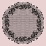 Round black lacy frame Stock Images