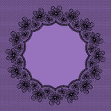 Round black lacy frame Royalty Free Stock Images