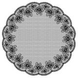 Round black lacy frame Stock Photos