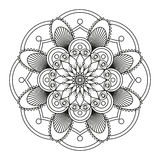 Round black mandala. Round black mandala on a white background. Abstract ornament Stock Photo