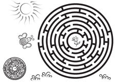 Round black maze game with solution. Royalty Free Stock Photos
