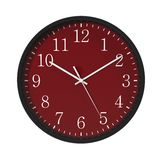 Round Black Office Clock red dial on white. 3D illustration Royalty Free Stock Photography