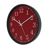 Round Black Office Clock red dial on white. 3D illustration Stock Photo