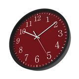 Round Black Office Clock red dial on white. 3D illustration Stock Image