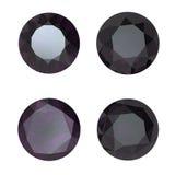 Round black sapphire isolated . Gemstone Royalty Free Stock Images