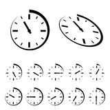 Round black timer icons Stock Images