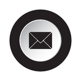 Round black, white button - mailing envelope icon Stock Photography