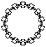 Round black and white frame with abstract decorative flowers. Co Royalty Free Stock Image