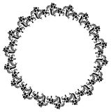 Round black and white frame with abstract decorative flowers. Co Stock Image