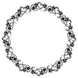 Round black and white frame with abstract decorative flowers. Co Royalty Free Stock Photo
