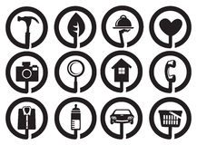 Round Black and White Icons for Business and Services Stock Photos