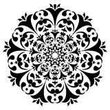 Round black and white ornament. Floral decoration. Vector illustration Stock Illustration