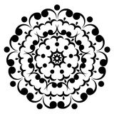 Round black and white ornament. Floral decoration. Vector illustration Vector Illustration