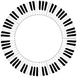 Round black and white piano keyboard frame Royalty Free Stock Image