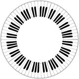 Round black and white piano keyboard frame Stock Images