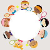 Round blank banner and kids tennis players. Stock Image