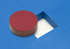 Round Block Square Hole. Red Circle Wood Block with Square Hole Stock Photos