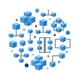 Round blockchain technology flat blue vector illustration. Round blockchain technology flat blue concept vector illustration or symbol Stock Image