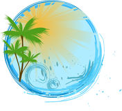 Round blue banner with palm. Round banner with palms, sunshine and ocean wave Stock Photography