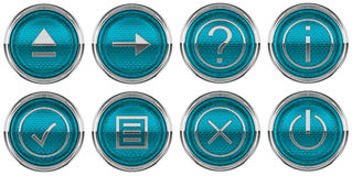 Round Blue Control icons set isolated Stock Image