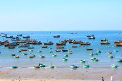 Round blue fishing boats in the open-air Bay Royalty Free Stock Photo