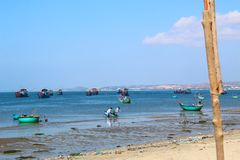 Round blue fishing boats in the open-air Bay Royalty Free Stock Photos