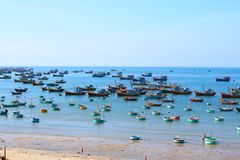 Round blue fishing boats in the open-air Bay Stock Photography
