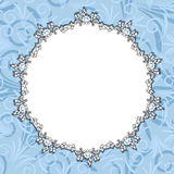 Round blue floral frame Stock Photography
