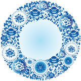 Round blue floral frame for your design. Vector Royalty Free Stock Photos