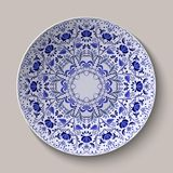 Round blue floral ornament Gzhel style. Pattern shown on the ceramic plate. vector illustration