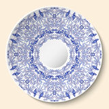 Round blue floral ornament. Styling based on Chinese or Russian porcelain painting. Pattern is applied to ceramic decorative plate vector illustration