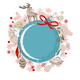 Round blue frame with Christmas decor Stock Photography