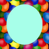Round blue frame of easter eggs. Blue round frame of red, blue, green, yellow, purple, pink of easter eggs Vector Illustration