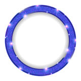 Round blue frame with lights on a light background Royalty Free Stock Photo
