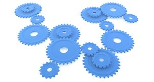 Round Blue Gears. Assorted sizes of blue gears or cogs Stock Photos