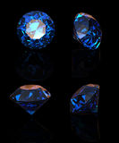 Round blue gemstone isolated on black background.  Benitoit. Sap Stock Photos